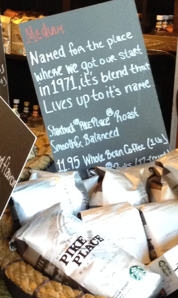 Hand printed sign in a Starbucks cafe, across from the Department of Education building