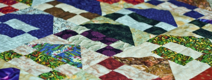 Close-up of a quilt, in perspective